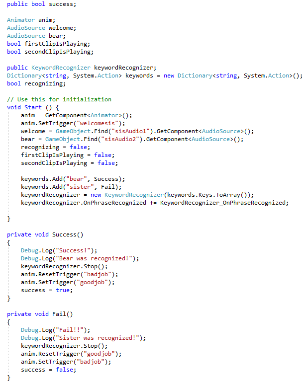 Code for keyword recognition