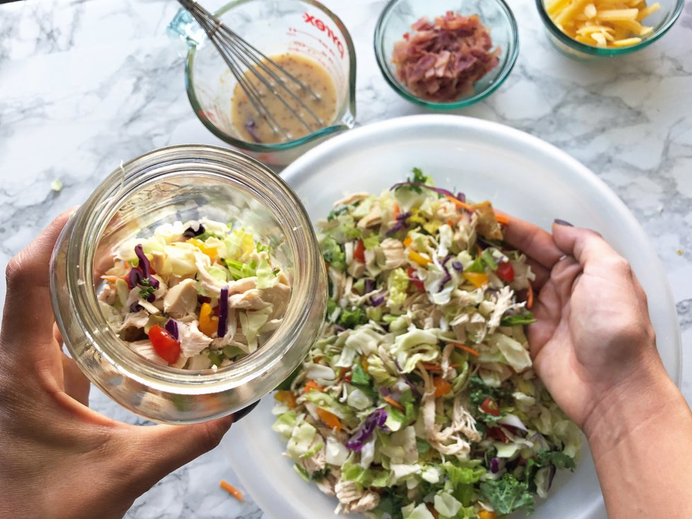 Chopped cobb salad jar meal prep 2