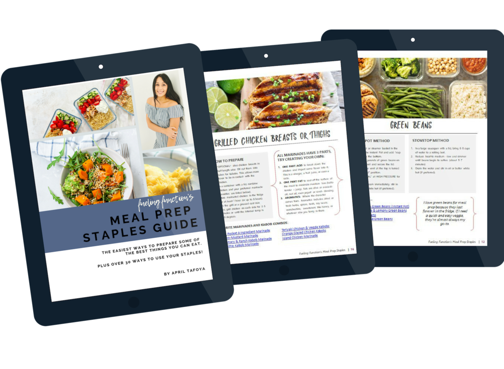 get your free meal prep staples guide -