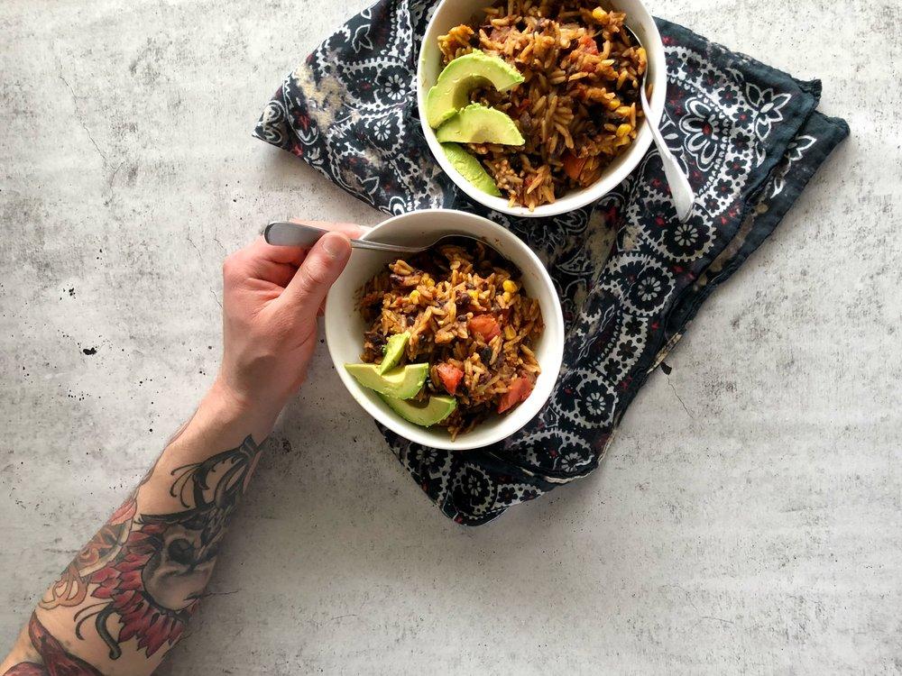 Southwest Orzo, vegan meal prep 1