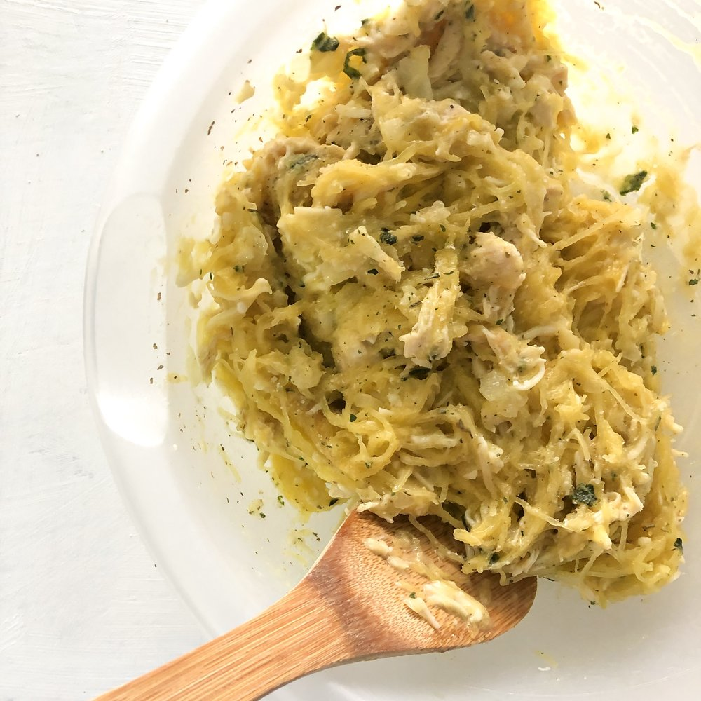 Healthy chicken alfredo squash bake 3