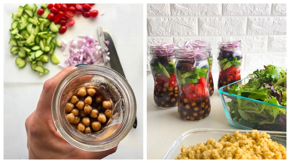 Vegan Mediterranean Salad Jars, Greek salad jar 1