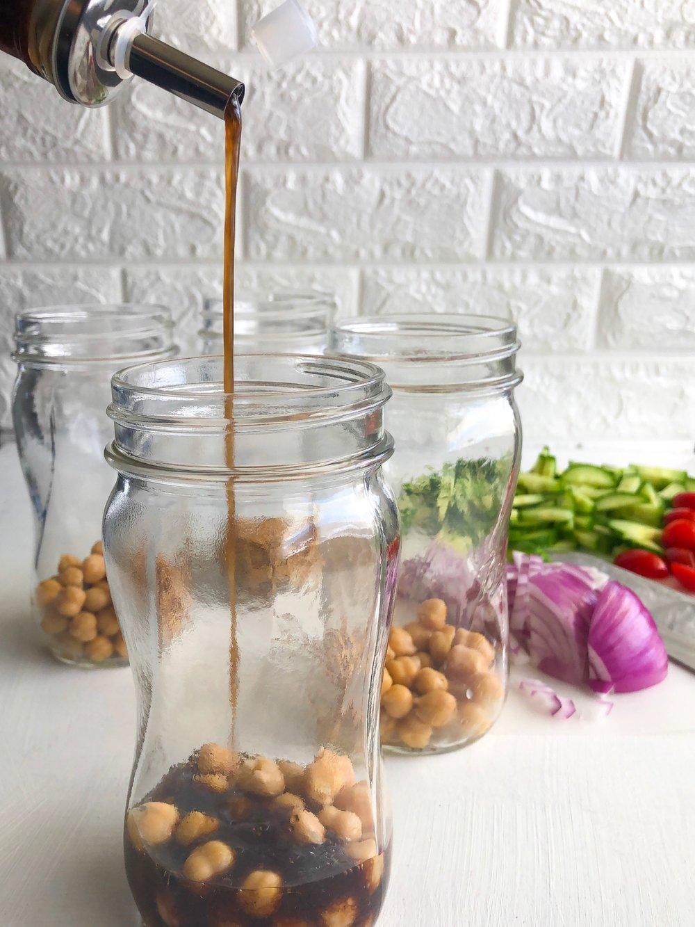 Vegan Mediterranean Salad Jars, Greek salad jar 3