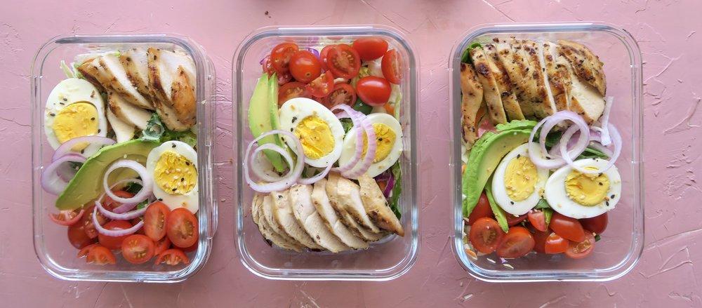 Honey mustard chicken salad, honey mustard dressing, meal prep 1