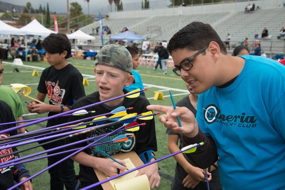 students looking at arrows