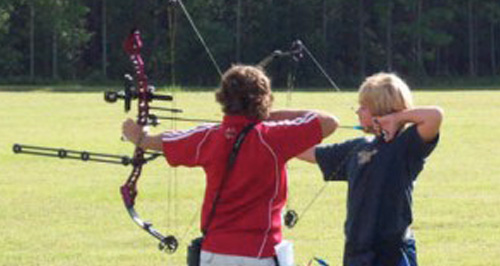 archery students on the range