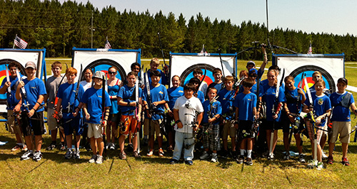 group of archery students