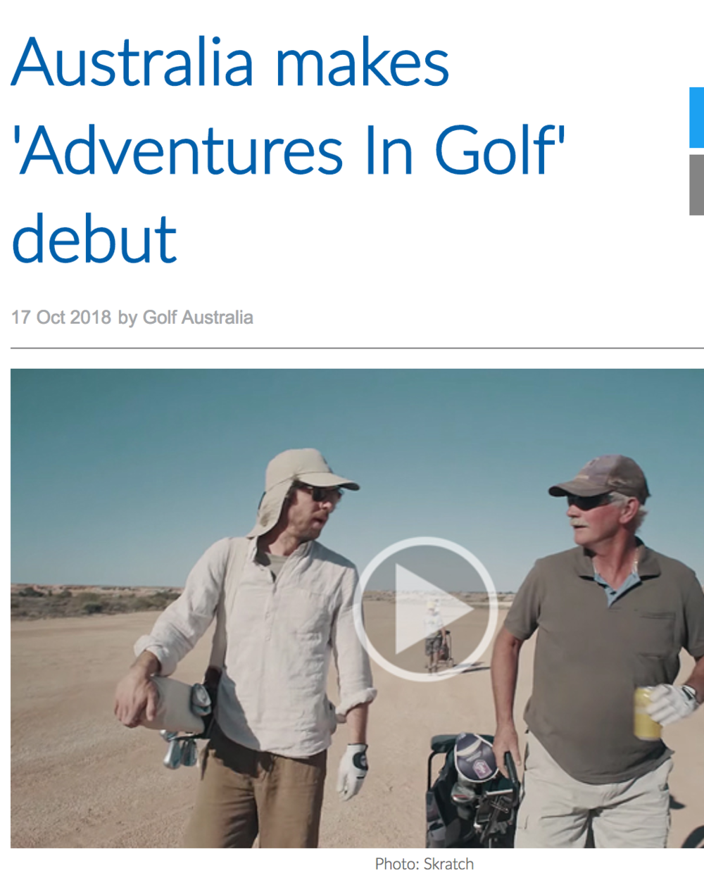 Article with Golf Australia on the Coober Pedy episode