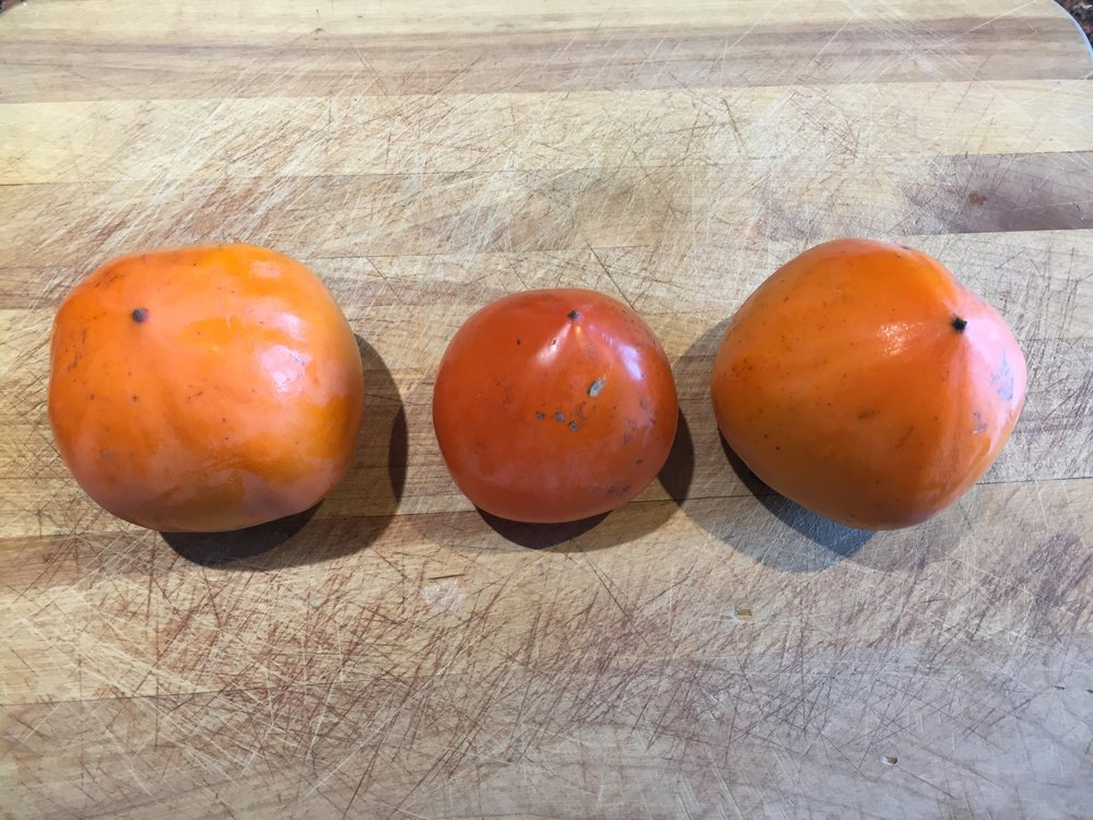 Hachiya Persimmons - the two on either end are still hard but the middle one is soft and ripe, note the translucent and deeper colored skin.