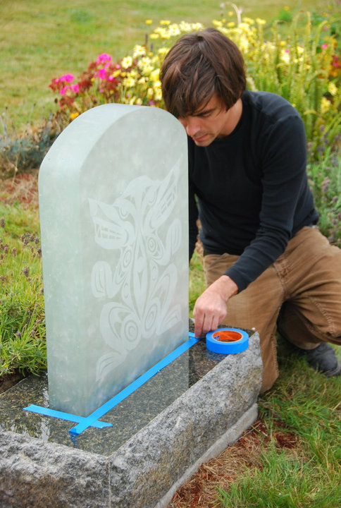 Designer Greg Lundgren detailing a new memorial