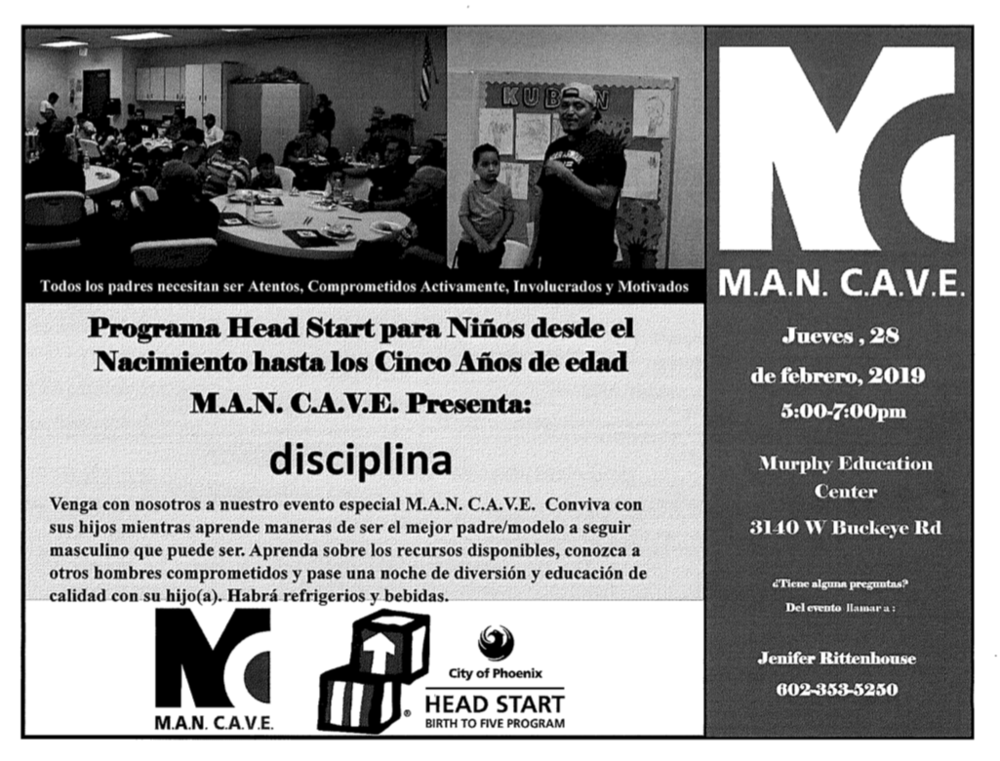 MAN CAVE Flyer Spanish