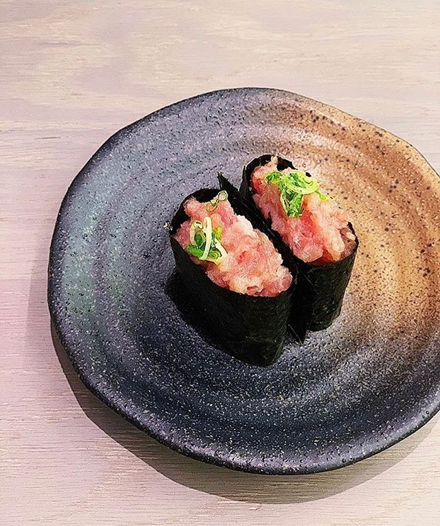 Our Negi-Toro Gunkan is already a fan-favourite. Chopped tuna belly with green onion on sushi rice wrapped in seaweed. Lunch anyone? 📸 by @janice.xo