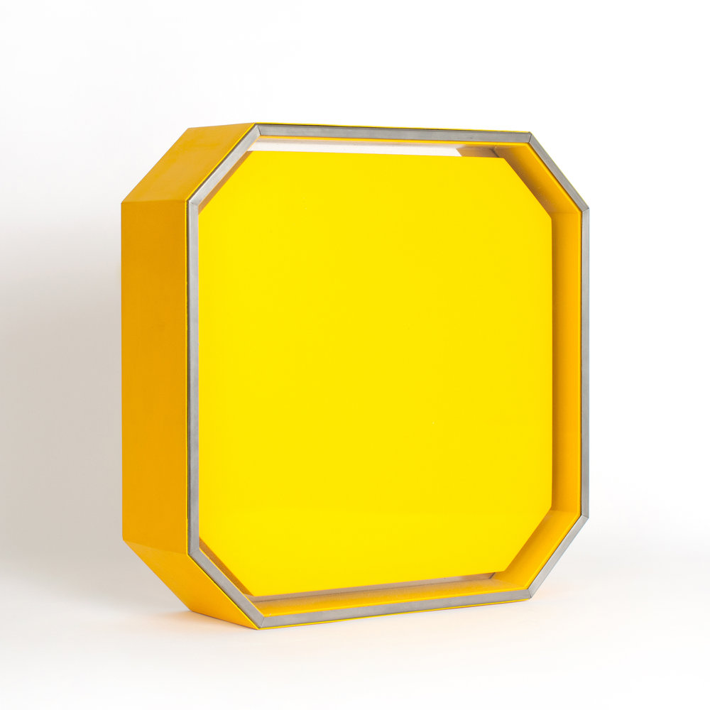 Wiljalba , 1967 stainless steel, wood, fiberglass, plexiglass, lacquer paint 12-1/2 x 12-1/2 x 3-1/2 inches