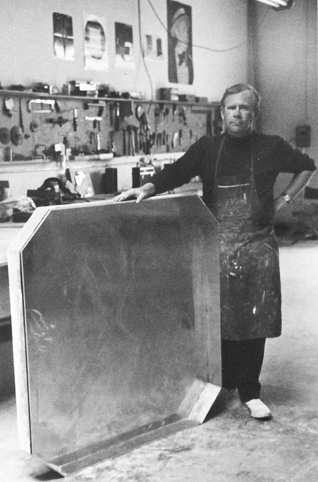 Tony DeLap in his Costa Mesa studio, 1968
