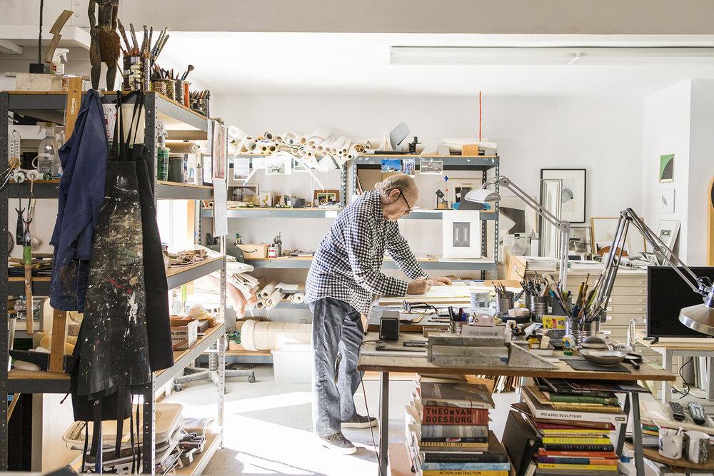 Tony Delap in his studio, 2017