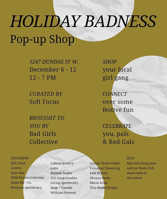 Really looking forward to being a part of the Holiday Badness Pop-Up next week! 🙌🏻 Hosted by @badgirlscollective + @in_softfocus from December 6-12th @milkglassco ⚪️ Shop a collection of the most badass local female-led brands and join in the fun workshops happening all week long