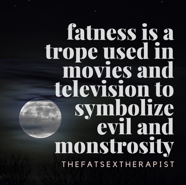 fatness is a trope used in movies and television to symbolize evil and monstrosity [image text]  .  if i asked you to name a villain or bad guy from a movie or tv show whose monstrosity, or evilness, or repulsiveness was emphasized by their fatness i bet we could have a hundred characters. (offer some in the comments below to prove my point) think ursula from little mermaid. Think green ghost slimer from ghostbusters. think bruce bogtrotter, the fat kid forced to eat an entire chocolate cake from matilda.  .  i didn't realize the obvious fact of this statement until i watched @fattitudethemovie this year. fatness is associated with poor hygiene. the fat dating prospect is (mostly) a punchline. the way fat characters are treated in the vast majority of media depict them being sidekicks, having low intelligence, and blithely unaware hideousness. these media depictions sed a very clear message to the fat folks watching them: you are sub human  .  media depiction is important only bc it's a reflection of the reality we live in. if i'm a fat kid growing up, i'm gonna experience treatment from my peers based on what we have been explicitly taught by our parents, doctors, and media. i want you to be aware of the way fat characters are depicted in the media you consume. first of all, are there any fat characters? and if there are, is there more than one? do they get to talk to each other about things that don't include weight loss? and does this depiction of fatness contribute to an internalized fatphobic understanding of what a fat person can be? let's read between the lines to understand what the media we consume is explicitly telling us about fatness  .  anyone seen any interesting fat representation in tv or movies lately that we could dissect together?