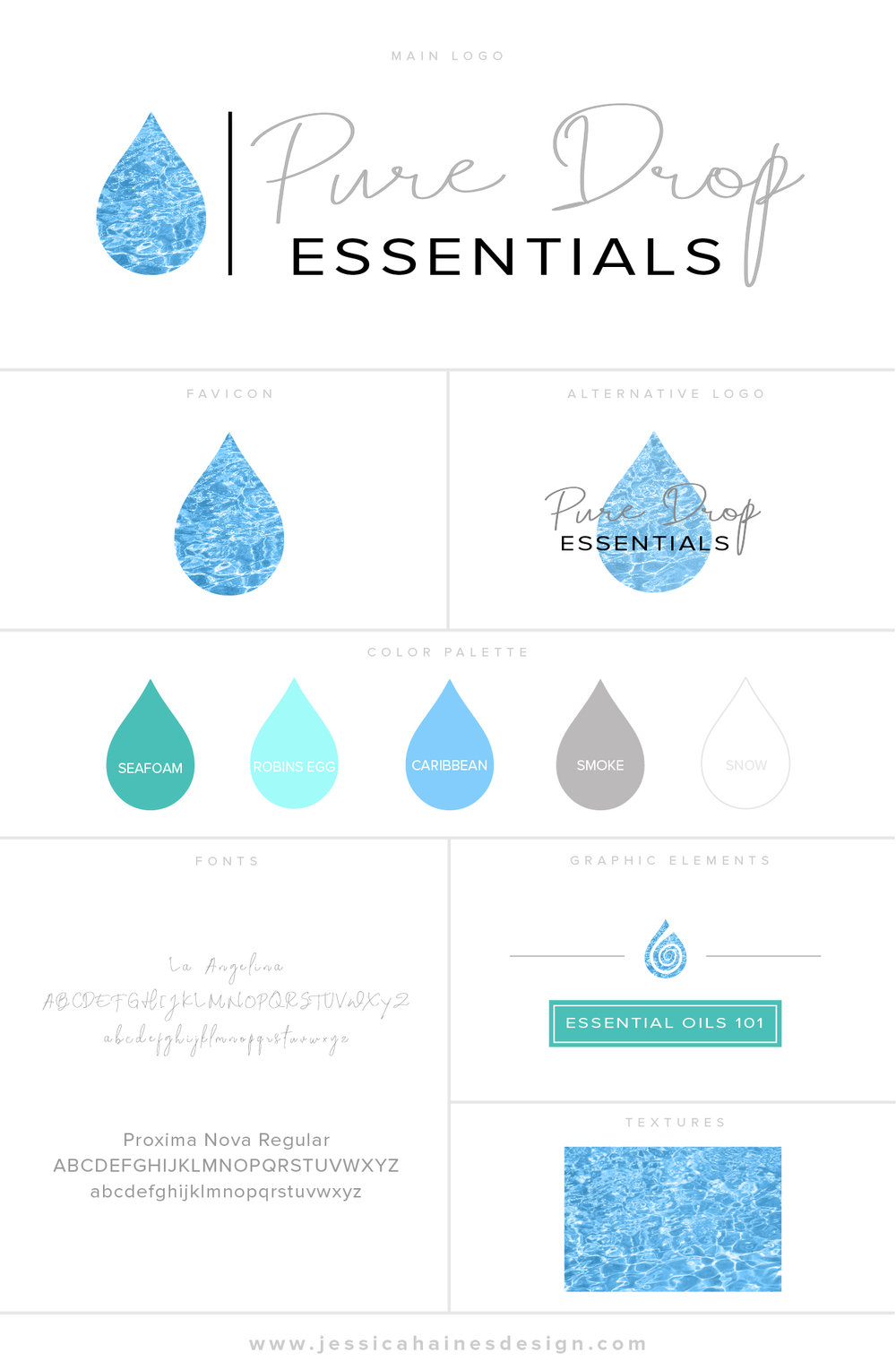 Pure Drop Essentials Branding Style Board with logo, alternate logo, favicon, color palette, fonts, graphic elements and textures. Created by Jessica Haines Design