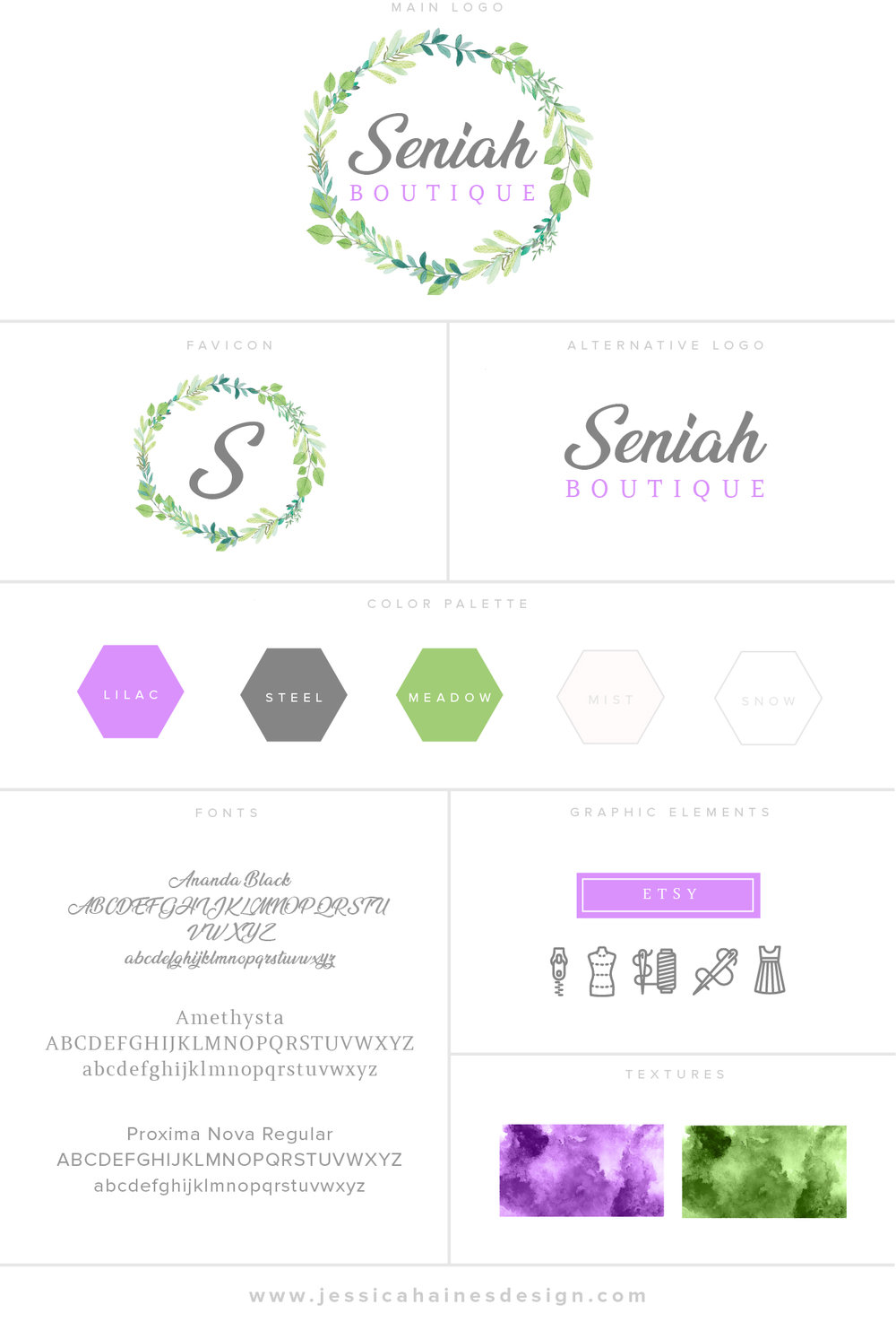 Seniah Boutique Branding Style Board with logo, alternate logo, favicon, color palette, fonts, graphic elements and textures. Created by Jessica Haines Design