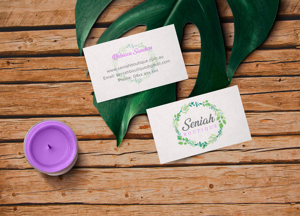 Seniah Boutique Business Cards. Created by Jessica Haines Design