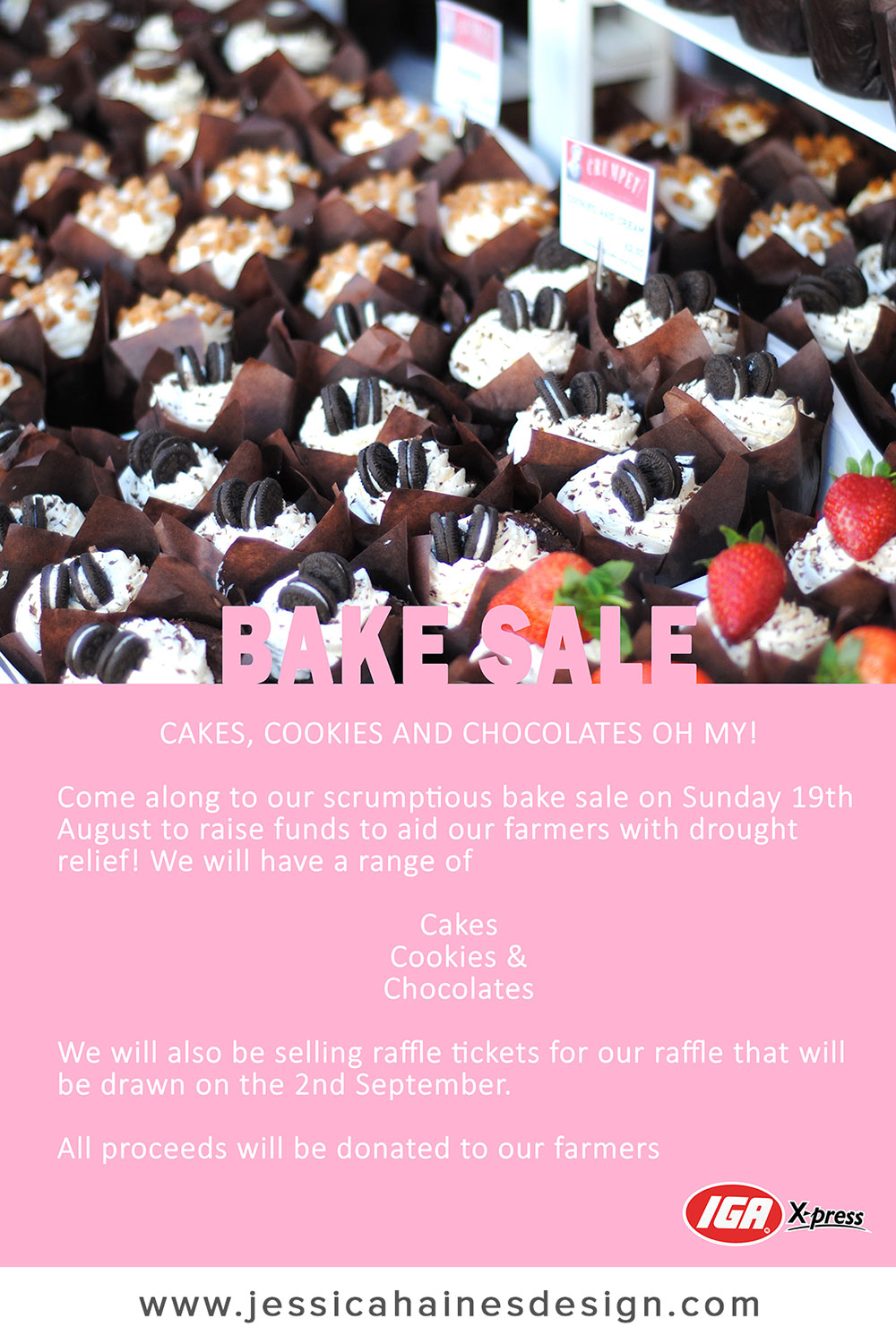 IGA XPress Drought Relief Fundraiser Bake Sale Poster