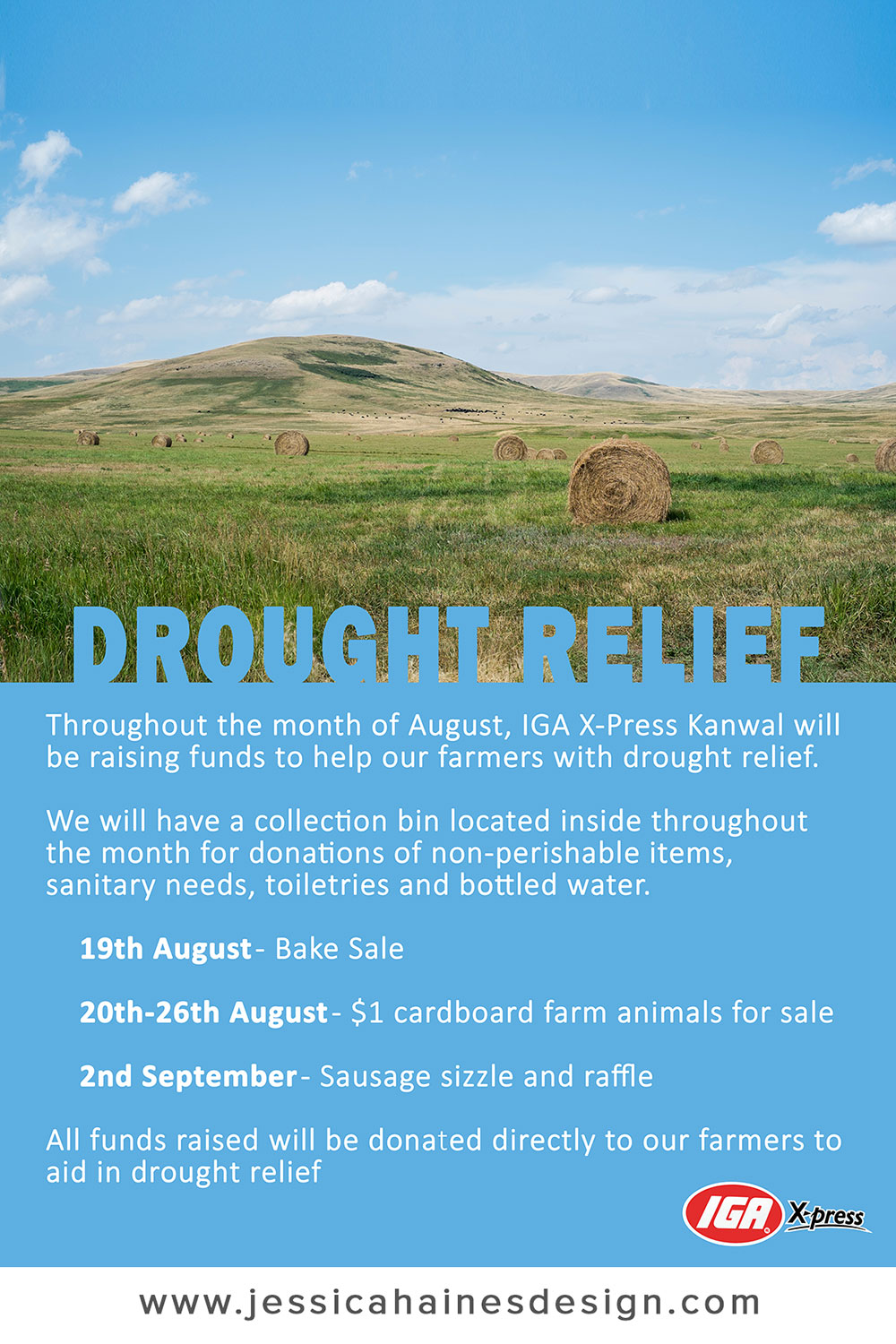 IGA XPress Drought Relief Fundraiser Poster