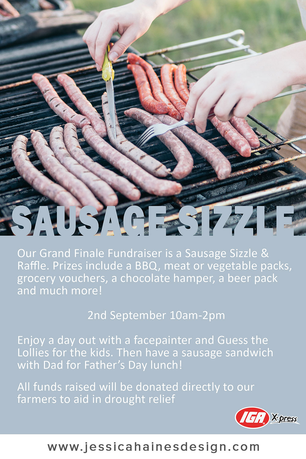 IGA XPress Drought Relief Fundraiser Sausage Sizzle Poster