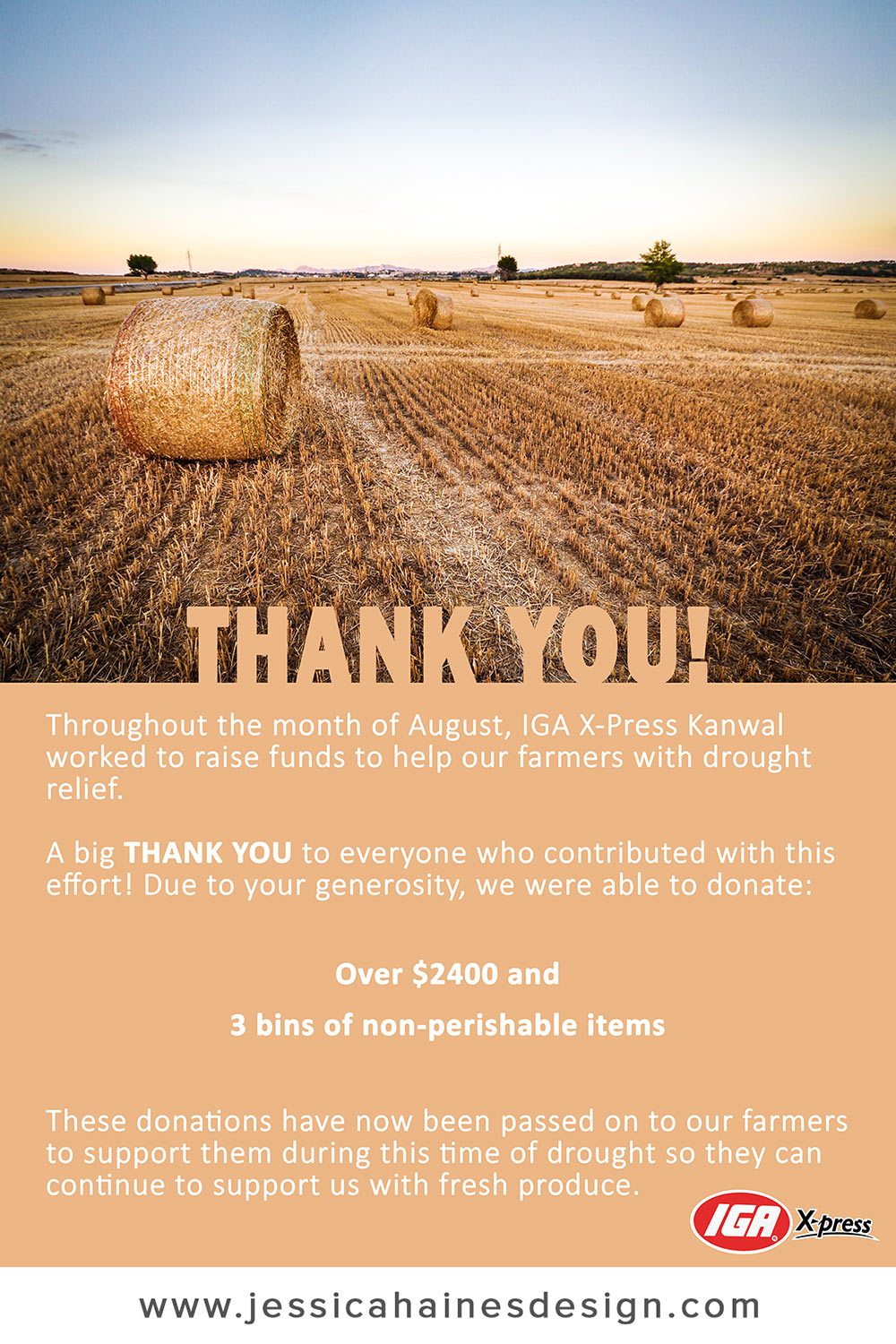 IGA XPress Drought Relief Fundraiser Thank You Poster