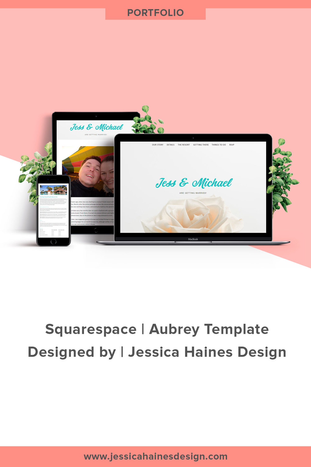Jess & Michael Are Getting Married | Custom Squarespace wedding website. If you want to help take your business to the next level, click through to see what your new Squarespace website and brand refresh could look like! |  www.jessicahainesdesign.com