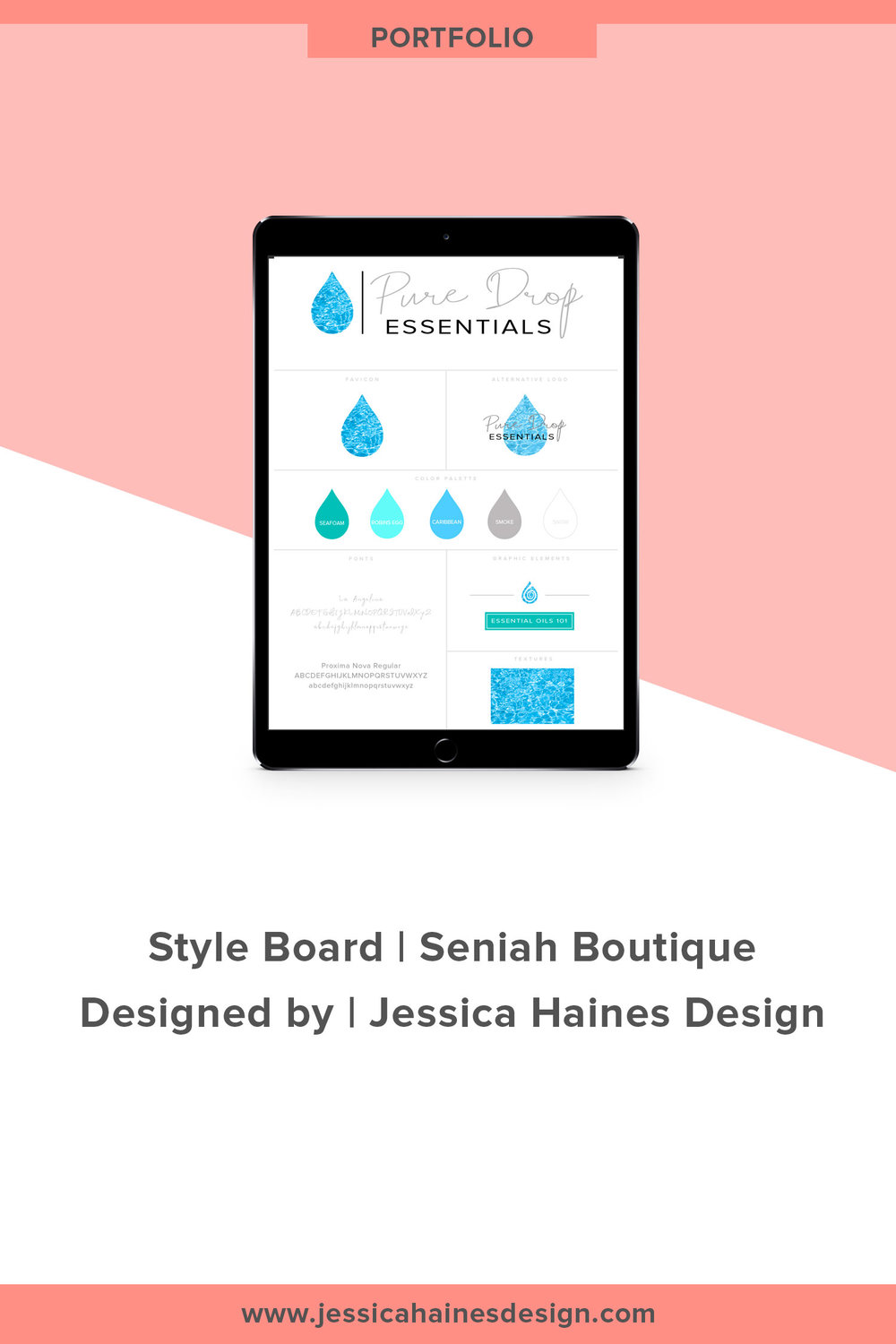 Pure Drop Essentials branding style board. This is the style board for an essential oils company. Want to take your brand to the next level with a custom logo and brand style board? Click through to find out how I can help you with a brand refresh      www.jessicahainesdesign.com