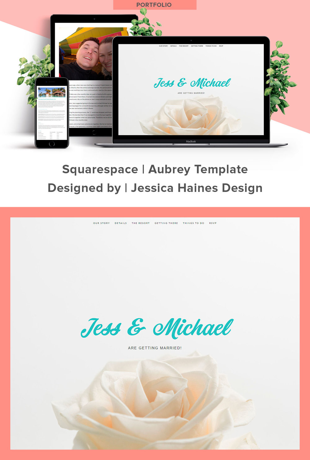 Jess and Michael are getting Married Website Design. Created by Jessica Haines Design