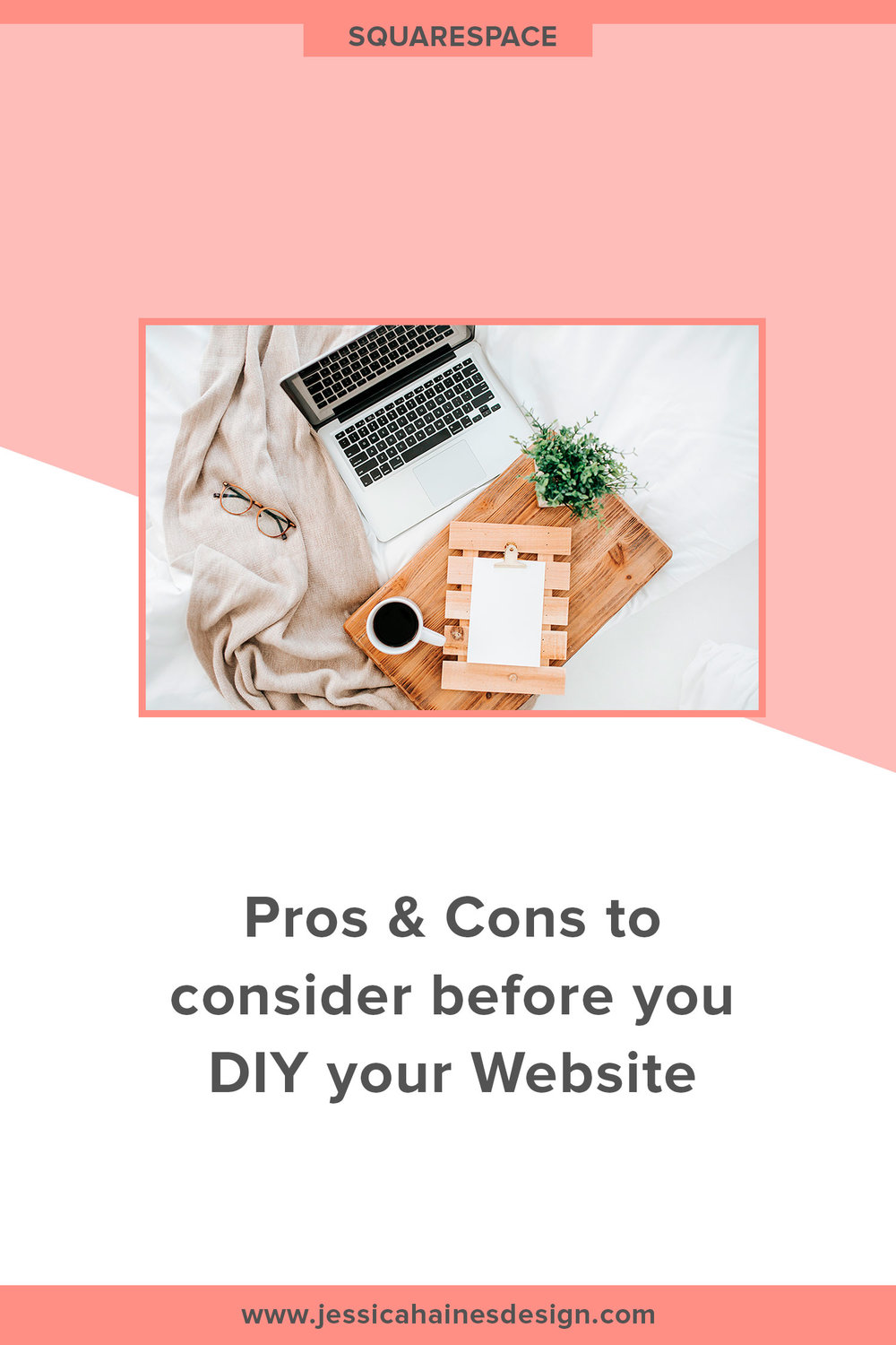 Pros and Cons of a DIY Website – Not sure if you should DIY your business website or hire a professional? Click through to find out which option is the right fit for your business needs | www.jessicahainesdesign.com