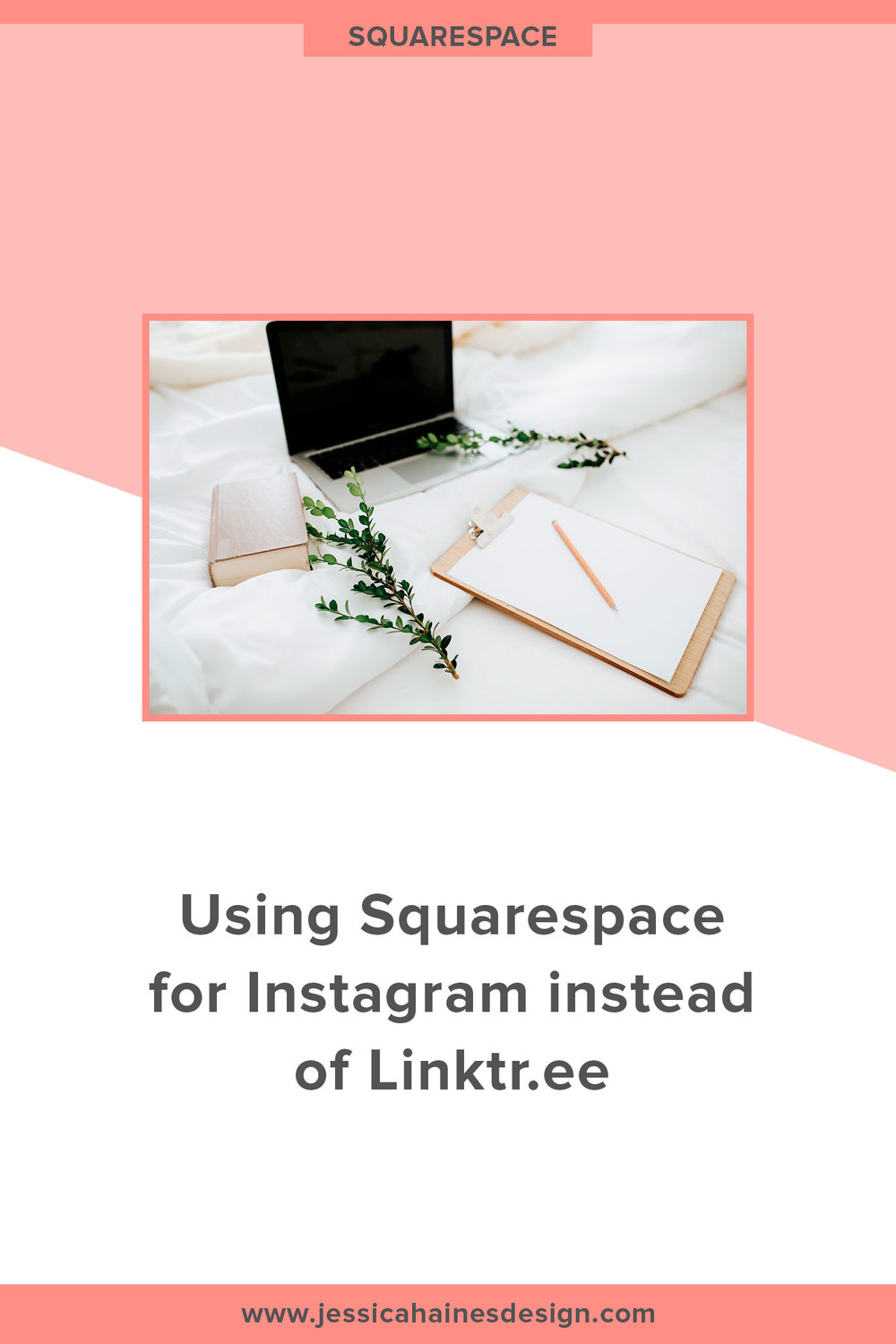 Using Squarespace for an Instagram landing page instead of Linktree. You only have one link on your Instagram bio, so you need to make it count! Click through to find out how you can set up your own custom landing page on Squarespace to maximize that link, and why you should do it this way instead of using Linktr.ee | www.jessicahainesdesign.com