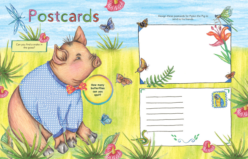 Piggy postcard design