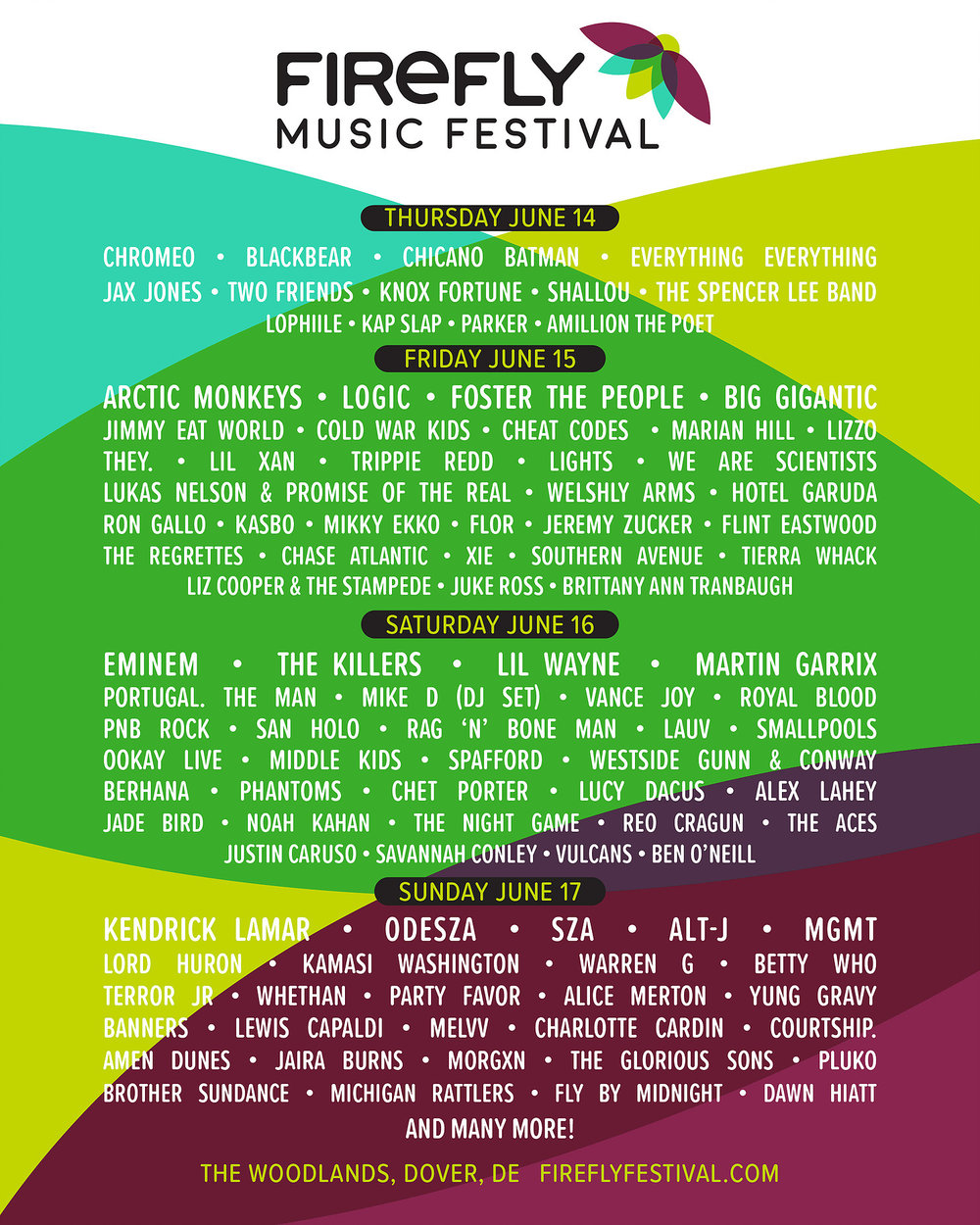 The 2018 Firefly Music Festival Lineup