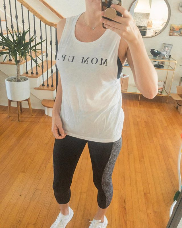 Which part of this look says I'm a mom more? Total mom uniform over here. Not pictured: eye bags, baby hair sideburns and really dirty messy bun. 🤷🏼♀️ This tee is launching in the shop soon!!