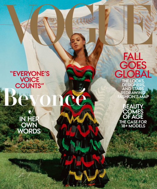 Beyoncé in Alexander McQueen and Lynn Ban earrings by Tyler Mitchell for Vogue September 2018