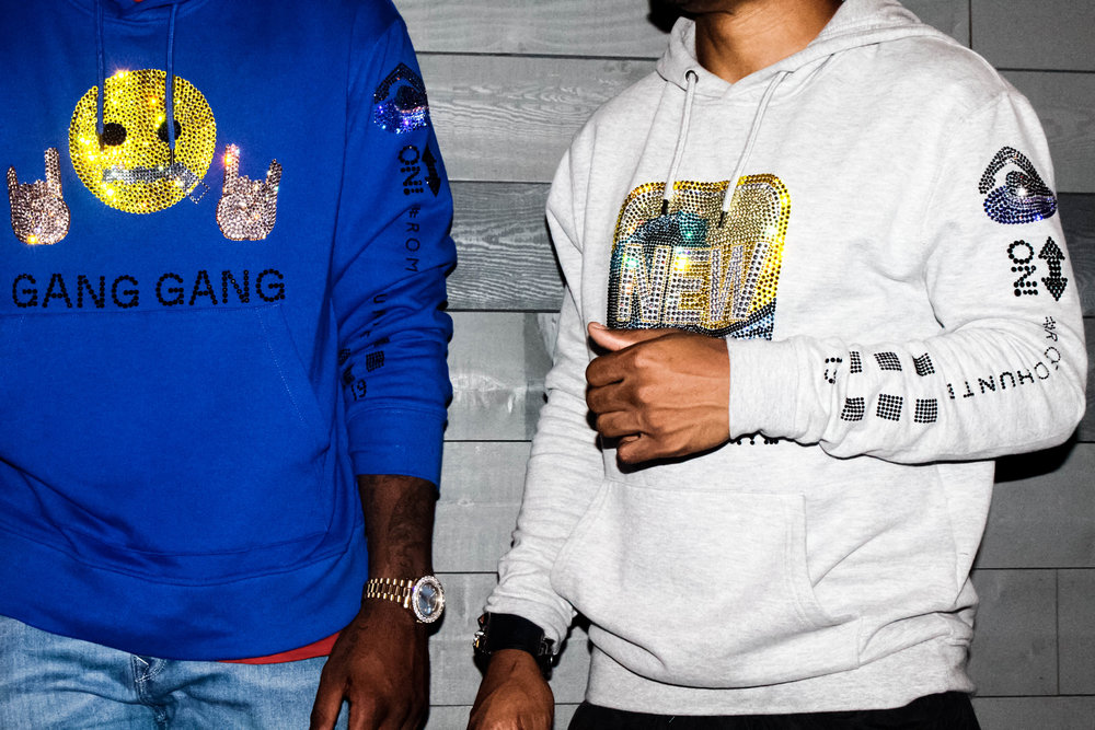 Trevor Jackson and Romeo Hunte wearing hoodies designed by Romeo Hunte, photographed by Founder Amanda Moore-Karim