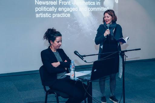 Festival organizer, Elena Veljanovska introduces a speaker.
