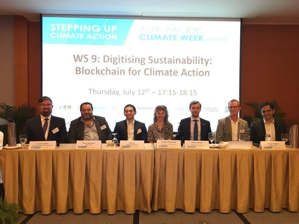 Blockchain for Climate Action panel at Asia Pacific Climate Week in Singapore.