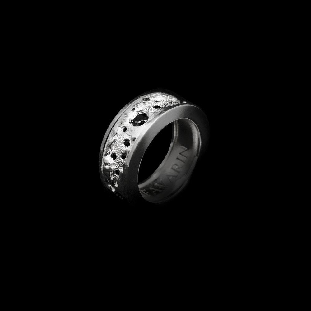N°3  White Gold 18K & 26 Fancy Black Diamonds 0,49 ct