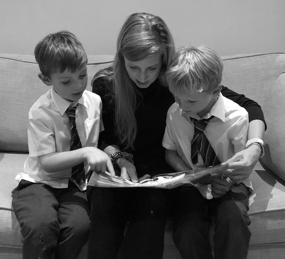 Anna exploring Cheeky Worries with her boys.