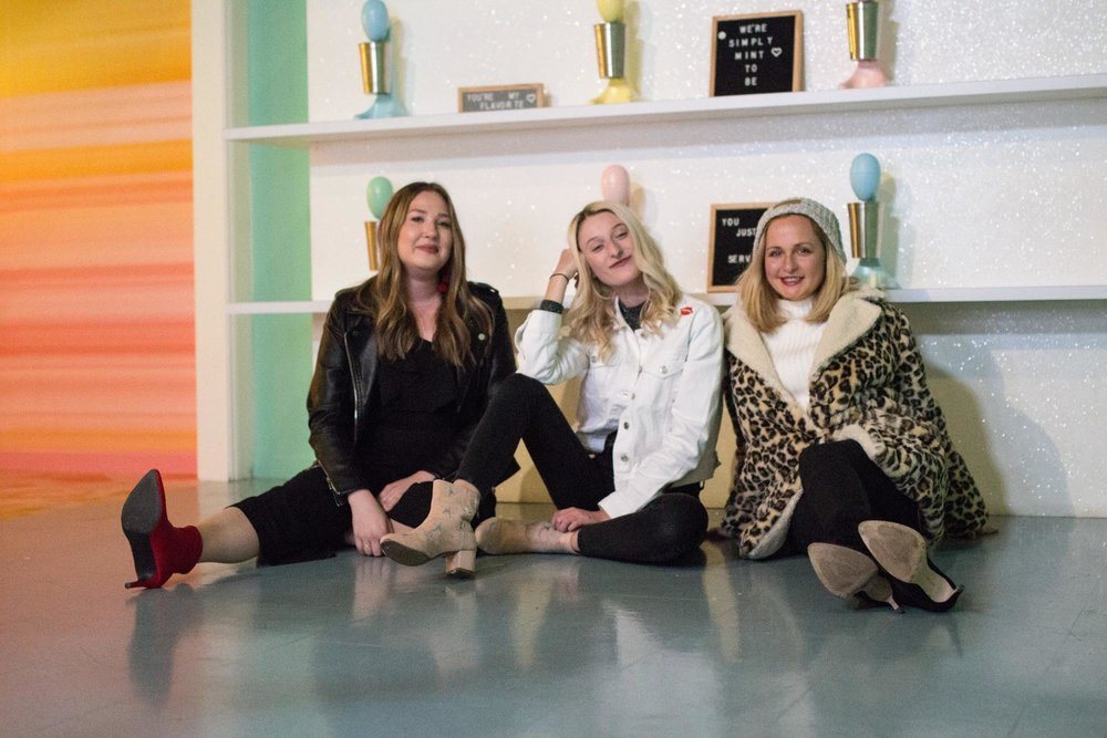 """The ladies of BLEND, Bailey Whelton, Kaylin Balderrama, and Blair Fielder, were """"mint to be"""" in this milkshake-inspired scene located as you enter the installation."""