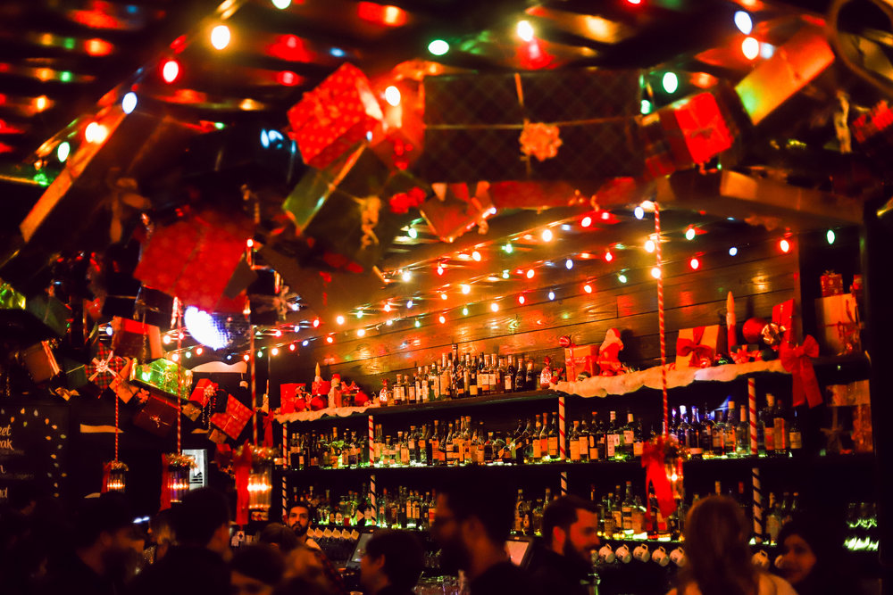 The bar at Miracle on 5th is just as festive as the holiday-themed drinks.