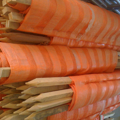 Orange Woven Barrier Fence w/  Wooden Stakes