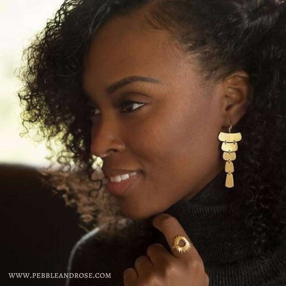 Pebble and Rose 14K Gold Cascading Earrings
