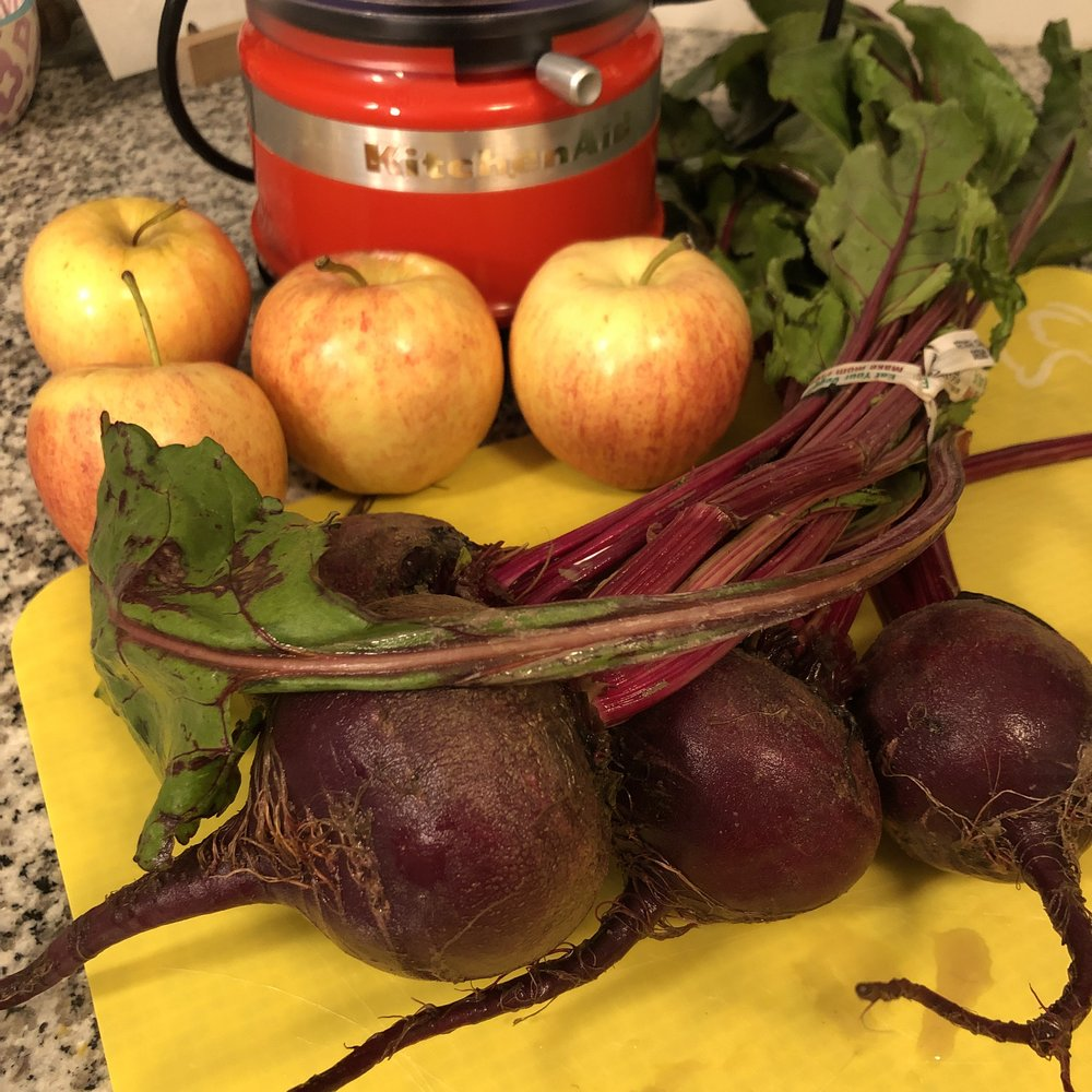 I used two apples about this size. and I used all 4 of the beets, but would recommend using 3.