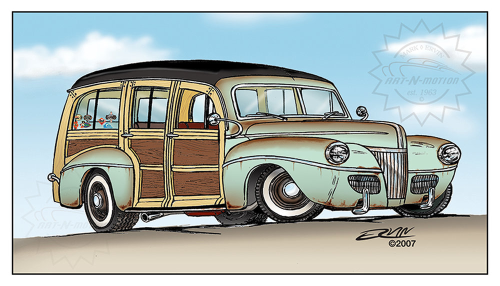 "1941 Surf Wagon  (11x14-001) one of one  11 x 14"" includes white framing border only  one  left"
