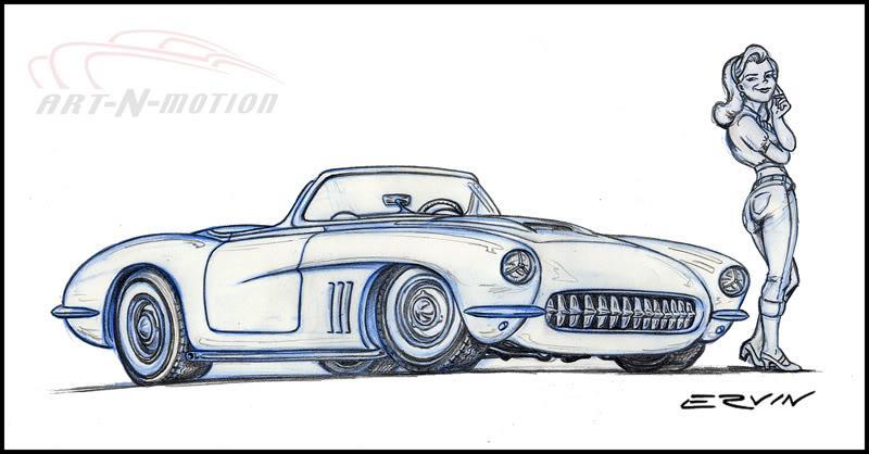 """Vette Ray; custom 1956 Corvette  (11x14-003)  11 x 14"""" includes white framing border only  one  left"""