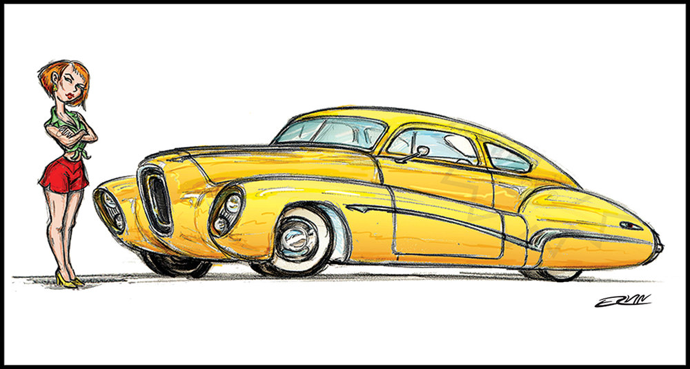 "Golden Nugget: '48 Buick Custom  (11x17-001)  11 x 17"" includes white framing border ( two  left)"